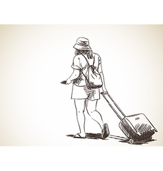 sketch woman walking with suitcase hand drawn vector image