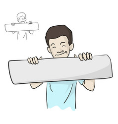 Smiling boy holding blank sign with two hands vector