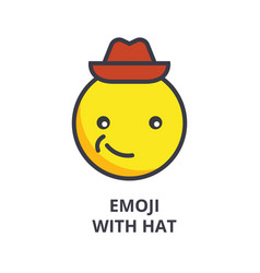 smiling emoji with hat emoji line icon vector image