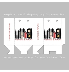 Template small shopping bag for cosmetics vector