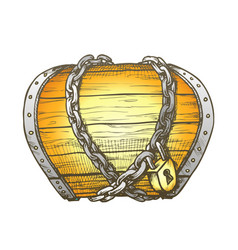Treasure chest chain shrouded color vector