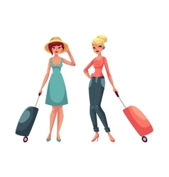 Two girls in dress and jeans travelling together vector image