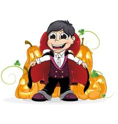 Vampire boy and jack o lanterns vector