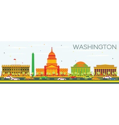 Washington DC Skyline with Color Buildings vector