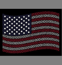 waving american flag stylization of contour vector image