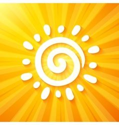 White cut out paper sun on yellow background vector