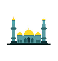wide green islamic mosque building design vector image