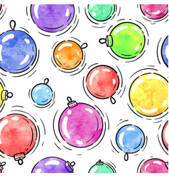 winter seamless pattern watercolor christmas ball vector image