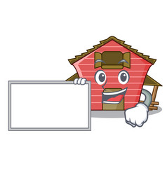 With board character red barn building with vector