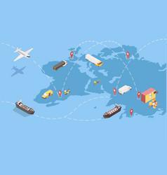 Worldwide goods shipment isometric vector