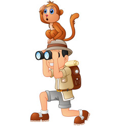 young boy with binoculars and monkey cartoon vector image