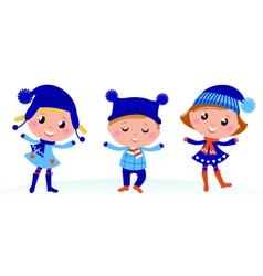 cute winter kids vector image