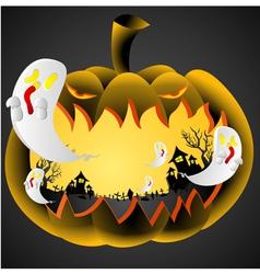 Halloween Pumpkin on black background vector image vector image