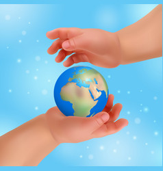 Hands is holding small earth vector