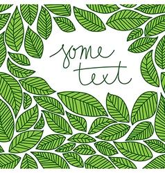 leaves frame doodle vector image