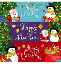 Merry Christmas and Happy New Year Banners vector image