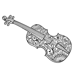 Violin coloring book for adults vector image