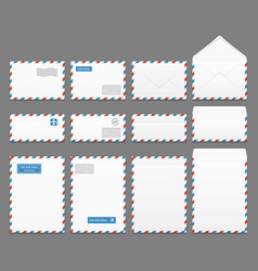 Air mail paper letter envelopes set vector image