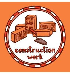 Architect building construction sketch vector image vector image