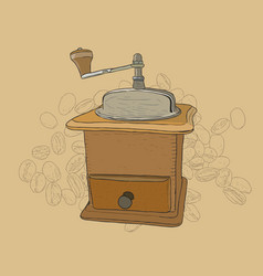 coffee grinder freehand pencil drawing vector image