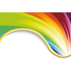 rainbow card with golden ribbon vector image