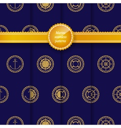 Seamless patterns with marine element vector