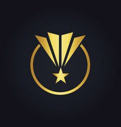Star pride round shape victory gold logo vector