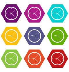 wall clock icon set color hexahedron vector image