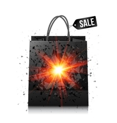 Black sale shopping bag with red explosion vector image