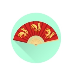 Chinese fan with gold roosters flat icon vector image