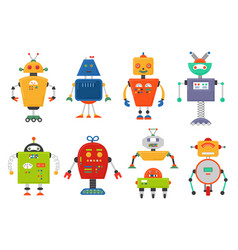 funny isolated robot set future robots isolated vector image