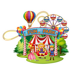 funpark with people in costumes vector image vector image