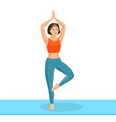 Girl practising yoga exercise stands on leg and vector image vector image