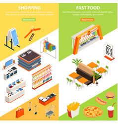 Plaza shopping vertical banners vector