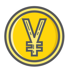 yen coin filled outline icon business and finance vector image