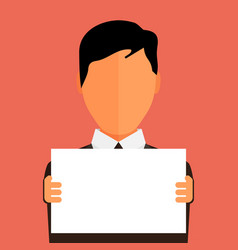 businessman holding blank banner flat design with vector image
