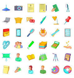 coworking icons set cartoon style vector image vector image