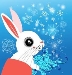 graphic funny rabbit winter on a blue background vector image