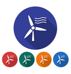 round icon of wind turbine flat style with long vector image
