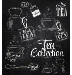 Set Tea Collection chalk vector image