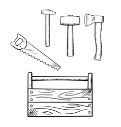 Sketches of toolbox and carpentry tools vector image vector image
