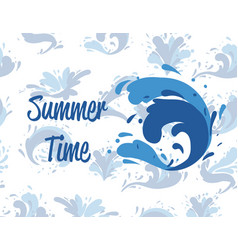 Summer time poster with water splash element vector