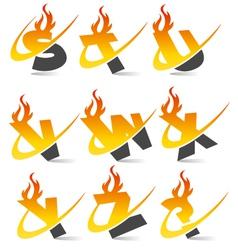 Swoosh Flame Alphabet Logo Set 3 vector image vector image