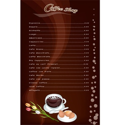A Coffee Menu Pattern on Brown Background vector