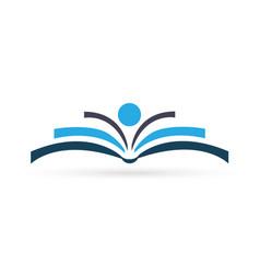 abstract blue book logo vector image