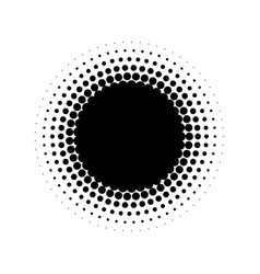 abstract halftone circle of dots in radial vector image