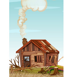 An old wooden house vector
