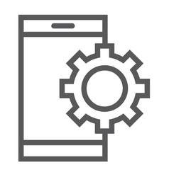 App settings line icon technology and smartphone vector