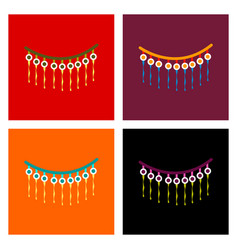 Assembly flat icons halloween garland vector