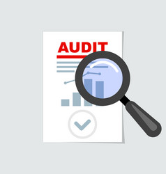 Auditing icon - magnifier on report audit concept vector